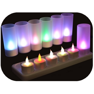 Set de 12 bougies multicolores à led rechargeables - SCLR12M