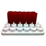 Set de 12 bougies rouges à led rechargeables - SCLR12R
