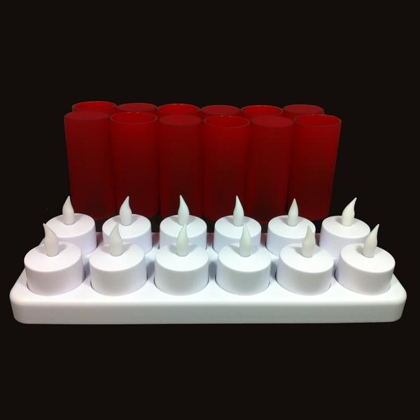 bougie led rechargeable rouge plateau de 12 deco lumineuse. Black Bedroom Furniture Sets. Home Design Ideas