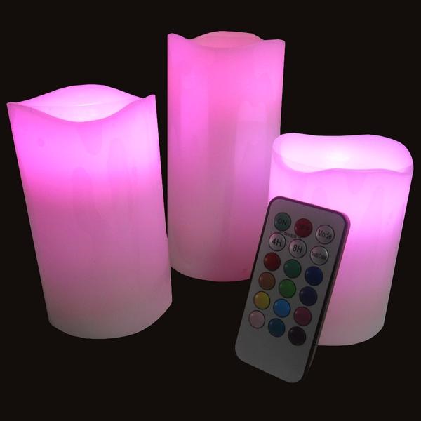 set de 3 bougies led t l commande sc3blt. Black Bedroom Furniture Sets. Home Design Ideas